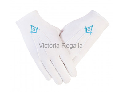 Cotton Gloves with Sky Blue Square Compass and G - Masonic