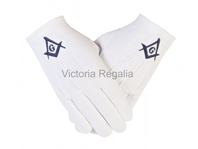 Cotton Gloves with Navy Blue Square Compass and G - Masonic