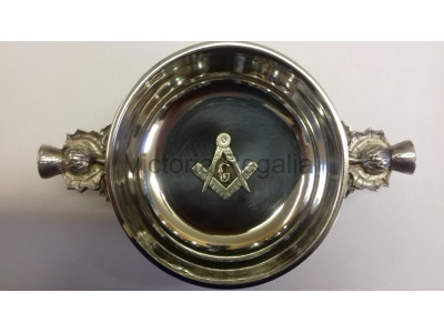 Freemasons Masonic Pewter Quaich with BADGE Square Compass & G - Thistle handles with option to Engrave