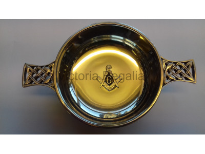 Freemasons Masonic Pewter Quaich BADGE SQUARE COMPASS & G- with Celtic handles with option to Engrave