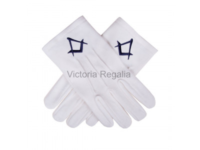 Cotton Gloves with Black  Square Compass - Masonic