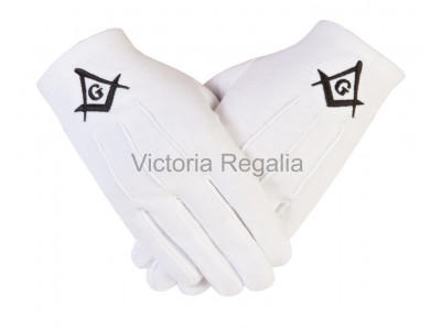 Cotton Gloves with Black  Square Compass and G - Masonic