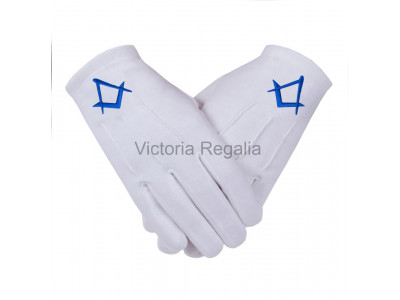 Cotton Gloves with Royal Blue Square Compass - Masonic