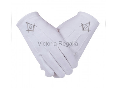 Cotton Gloves with Silver Square Compass and G - Masonic