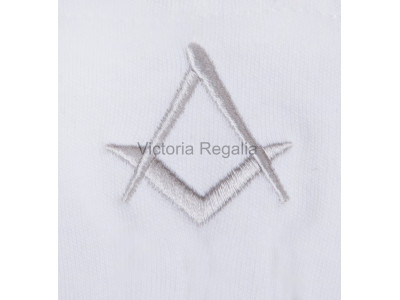 Cotton Gloves with Silver Square Compass - Masonic