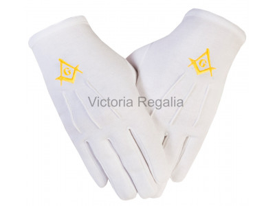 Cotton Gloves with Gold Square Compass and G - Masonic