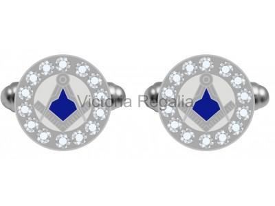 Rhinestone Silver S&C  Cufflinks-Masonic-Freemasons