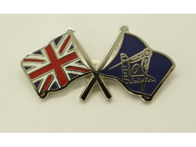 Union Jack Crossed flags Masonic Freemasons Lapel Pin