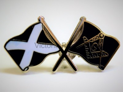 Scottish Salrire Crossed flags Masonic Freemasons Lapel Pin