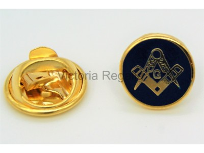 Square and Compass & G  Gold Round  Masonic Freemasons Lapel Pin