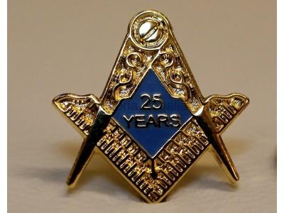 25 Years s Masonic Lapel Pin