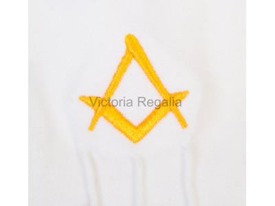Cotton Gloves with Gold Square Compass - Masonic
