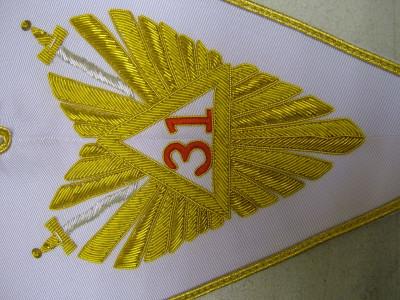 31st Degree full SET -  Hand Embroidered collar, Collarette & Jewel - SCOTTISH