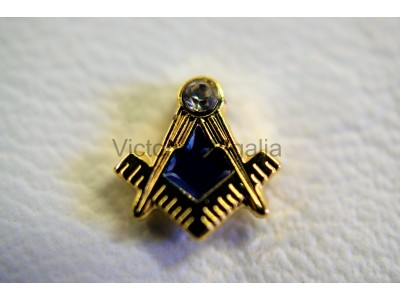 Square and Compass with Jewel  Lapel Pin - Small