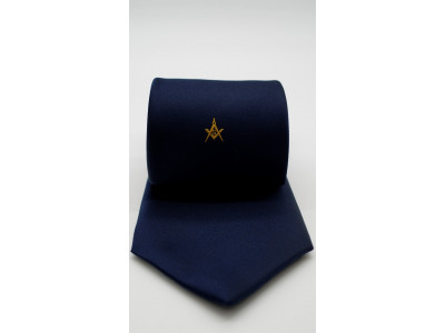 Navy Tie - Gold Square and Compass & G