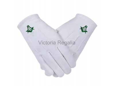 Cotton Gloves with Green Square Compass and G - Masonic