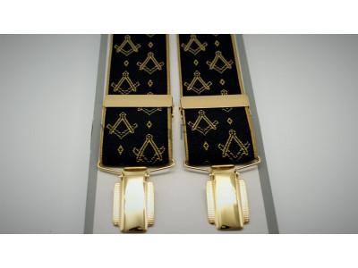 Freemasons Masonic Braces - Square and Compass Gold