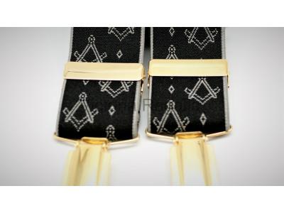 Freemasons Masonic Braces - Square and Compass White