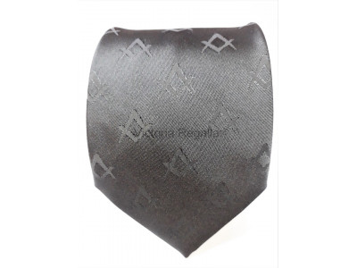 Black Square and Compasses Tie with Discreet Pattern Design