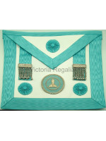 Office Bearers Apron  Finest Quality Lambskin, Hand Embroidered Silver Wire Badge -  English Constitution