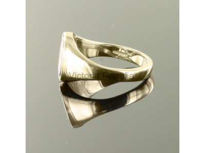 Masonic 9ct Gold Black Square and Compass Ring with Reversible Cushion Head