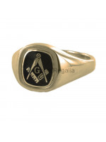 Masonic 9ct Gold Black Square, Compass and G Ring with Reversible Cushion Head