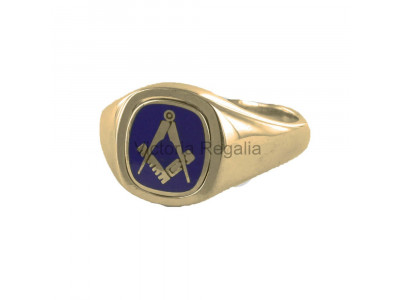 Masonic 9ct Gold Blue Square, Compass and G Ring with Reversible Cushion Head