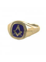 Masonic 9ct Gold Blue Square and Compass Ring with Reversible Cushion Head