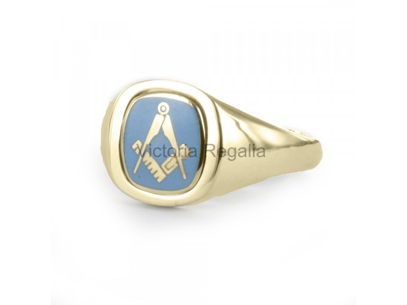 Personalised Blue /& Gold Masonic G Compass and Square Cufflinks in Engraved Case