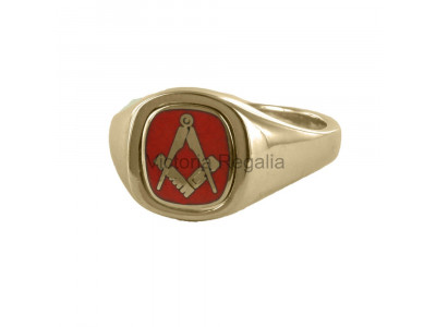 Masonic 9ct Gold Red Square and Compass Ring with Reversible Cushion Head