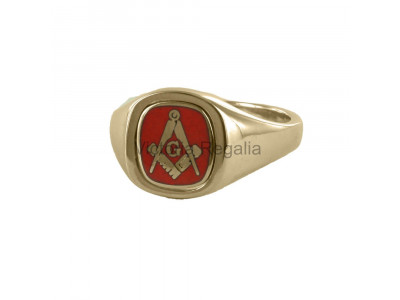 Masonic 9ct Gold Red Square, Compass and G Ring with Reversible Cushion Head