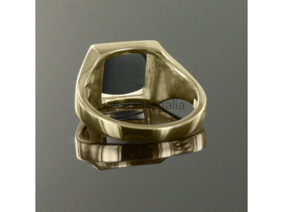 Masonic 9ct Gold Black Square and Compass Ring with Reversible Square Head
