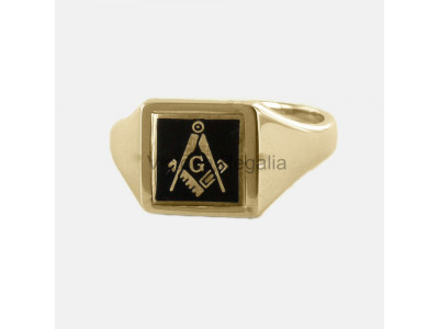 Masonic 9ct Gold Black Square, Compass and G Ring with Reversible Square Head
