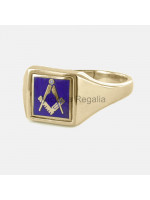 Masonic 9ct Gold Blue Square and Compass Ring with Reversible Square Head