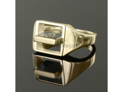 Masonic 9ct Gold Light Blue Square, Compass and G Ring with Reversible Square Head