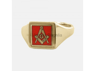 Masonic 9ct Gold Red Square, Compass and G Ring with Reversible Square Head