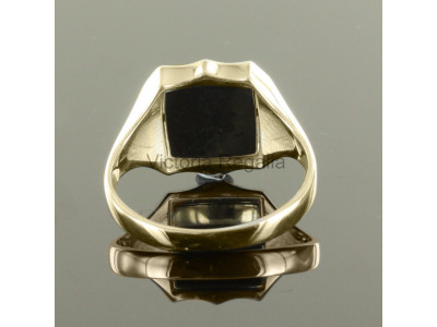 Masonic 9ct Gold Black Square and Compass Ring with Reversible Shield Head