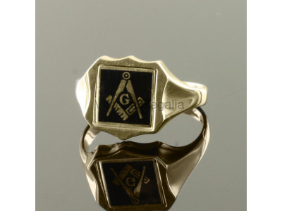 Masonic 9ct Gold Black Square, Compass and G Ring with Reversible Shield Head