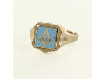Masonic 9ct Gold Light Blue Square, Compass and G Ring with Reversible Shield Head