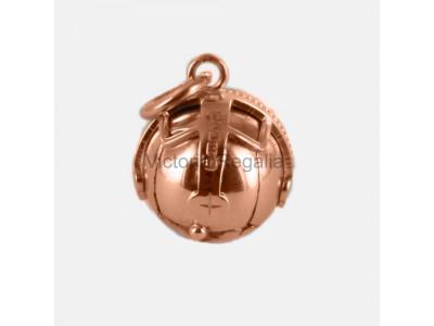 Handmade Masonic Orb Fob Ball Cross Pendant -  9ct Rose Gold - Medium Size