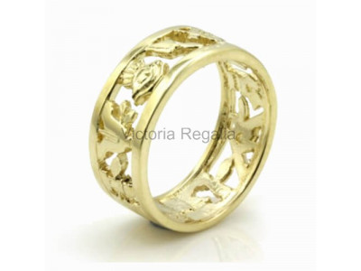 Masonic 9ct Gold Pierced Design Band Wedding Ring