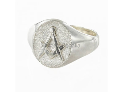 Masonic Silver Square and Compass Ring with Oval Head