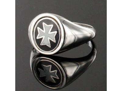 Masonic Silver Knights of Malta Masonic Ring with Reversible Head