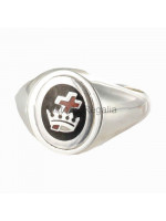 Masonic Silver Royal Black Preceptory Ring with Reversible Head