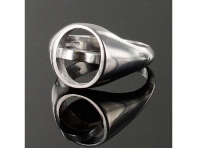 Masonic Silver Royal Black Preceptory Ring with Reversible Head