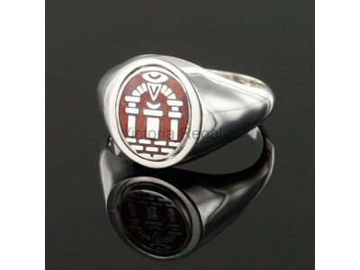 Masonic Silver Royal Arch Ring with Reversible Head (Red)