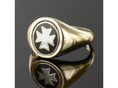 Masonic Gold Plated Silver Knights of Malta Masonic Ring with Reversible Head