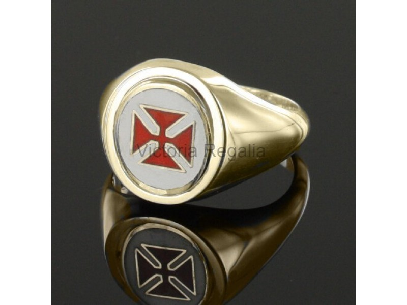 Masonic Gold Plated Silver Knights Templar Masonic Ring with