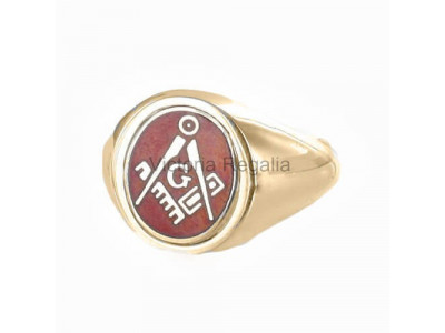 Masonic 9ct Gold Red Square, Compass and G Ring with Reversible Head