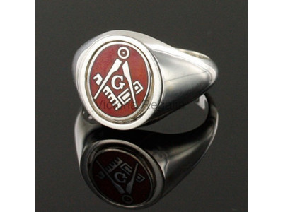 Masonic Solid Silver Square, Compass and G Ring with Reversible Head